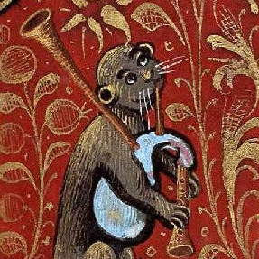 An otter holding a stand of bagpipes, illustrated in the style of a mediæval manuscript.