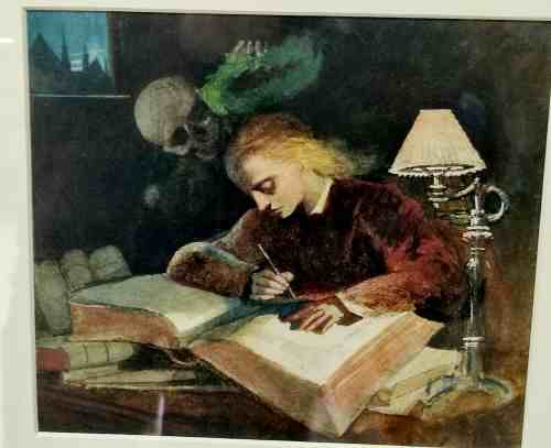 A framed painting from the gallery. A blonde-haired student in a red shirt hunches over a vast tome resting on piles of yet more books, his head illuminated only by a lamp as he writes. Over him, in the grim darkness, watches the Grim Reaper, toyingly placing a halo above his heat. In the top left corner, the only other source of light streams in, a view of a dark cityscape at midnight.