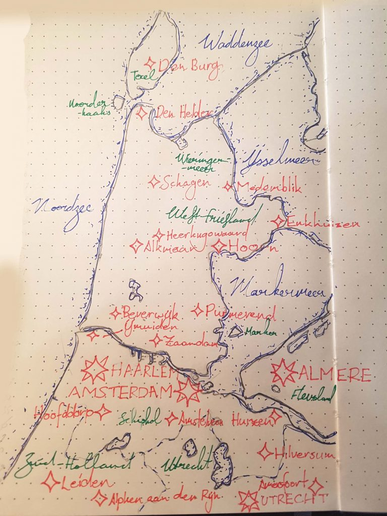 A map of North Holland and surrounding provinces doodled on some dotted paper.